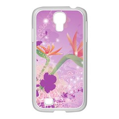 Wonderful Flowers On Soft Purple Background Samsung Galaxy S4 I9500/ I9505 Case (white)