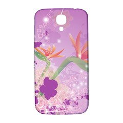 Wonderful Flowers On Soft Purple Background Samsung Galaxy S4 I9500/I9505  Hardshell Back Case