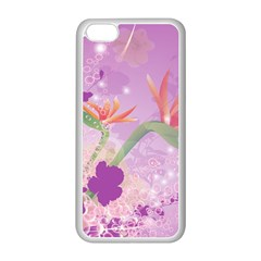 Wonderful Flowers On Soft Purple Background Apple iPhone 5C Seamless Case (White)