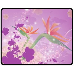 Wonderful Flowers On Soft Purple Background Double Sided Fleece Blanket (Medium)