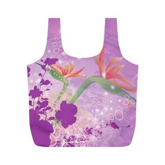 Wonderful Flowers On Soft Purple Background Full Print Recycle Bags (M)