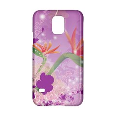 Wonderful Flowers On Soft Purple Background Samsung Galaxy S5 Hardshell Case