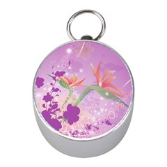 Wonderful Flowers On Soft Purple Background Mini Silver Compasses