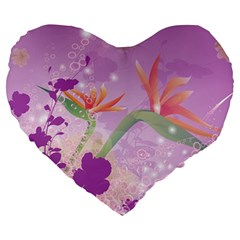 Wonderful Flowers On Soft Purple Background Large 19  Premium Flano Heart Shape Cushions