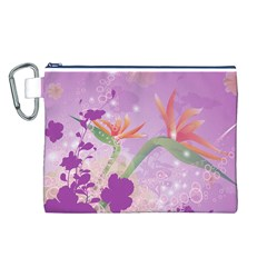 Wonderful Flowers On Soft Purple Background Canvas Cosmetic Bag (L)