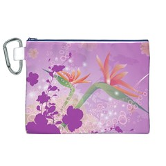 Wonderful Flowers On Soft Purple Background Canvas Cosmetic Bag (xl)