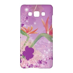 Wonderful Flowers On Soft Purple Background Samsung Galaxy A5 Hardshell Case