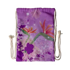 Wonderful Flowers On Soft Purple Background Drawstring Bag (Small)
