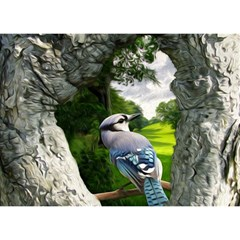 Bird In The Tree 2 Birthday Cake 3D Greeting Card (7x5)