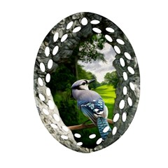 Bird In The Tree 2 Oval Filigree Ornament (2-Side)