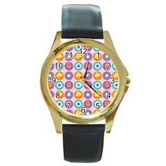 Chic Floral Pattern Round Gold Metal Watches