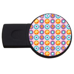 Chic Floral Pattern USB Flash Drive Round (4 GB)