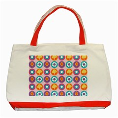 Chic Floral Pattern Classic Tote Bag (Red)