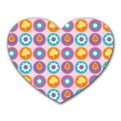 Chic Floral Pattern Heart Mousepads
