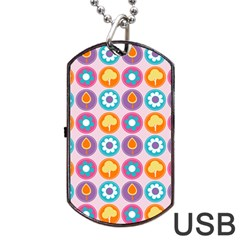 Chic Floral Pattern Dog Tag USB Flash (Two Sides)