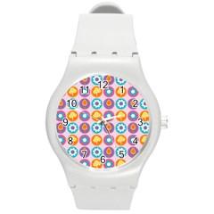 Chic Floral Pattern Round Plastic Sport Watch (M)
