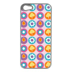 Chic Floral Pattern Apple iPhone 5 Case (Silver)