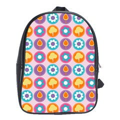 Chic Floral Pattern School Bags (XL)