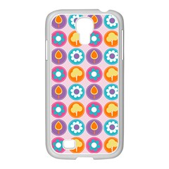 Chic Floral Pattern Samsung GALAXY S4 I9500/ I9505 Case (White)