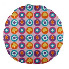 Chic Floral Pattern Large 18  Premium Flano Round Cushions
