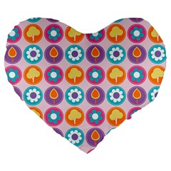 Chic Floral Pattern Large 19  Premium Flano Heart Shape Cushions