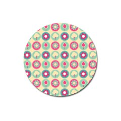 Chic Floral Pattern Magnet 3  (Round)