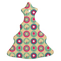 Chic Floral Pattern Christmas Tree Ornament (2 Sides)