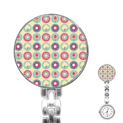 Chic Floral Pattern Stainless Steel Nurses Watches
