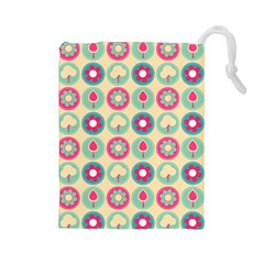 Chic Floral Pattern Drawstring Pouches (Large)