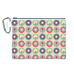 Chic Floral Pattern Canvas Cosmetic Bag (L)