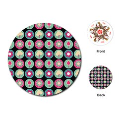 Chic Floral Pattern Playing Cards (Round)
