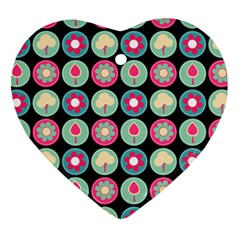 Chic Floral Pattern Heart Ornament (2 Sides)