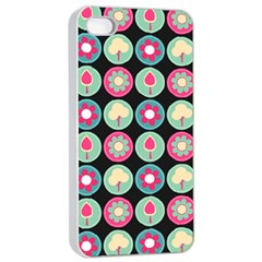 Chic Floral Pattern Apple iPhone 4/4s Seamless Case (White)
