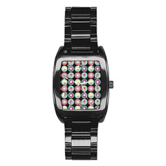 Chic Floral Pattern Stainless Steel Barrel Watch