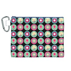 Chic Floral Pattern Canvas Cosmetic Bag (XL)