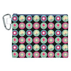 Chic Floral Pattern Canvas Cosmetic Bag (XXL)