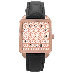 Salmon Pretzel Illustrations Pattern Rose Gold Watches