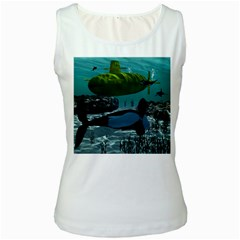 Submarine With Orca Women s Tank Tops