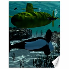 Submarine With Orca Canvas 12  x 16