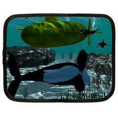 Submarine With Orca Netbook Case (Large)