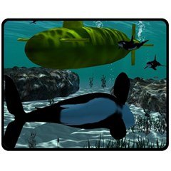 Submarine With Orca Fleece Blanket (medium)