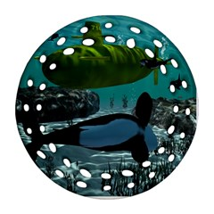 Submarine With Orca Round Filigree Ornament (2side)