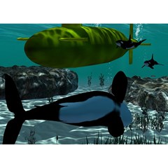 Submarine With Orca Birthday Cake 3D Greeting Card (7x5)