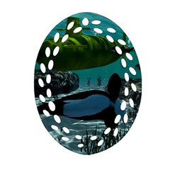 Submarine With Orca Oval Filigree Ornament (2 Side)