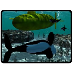 Submarine With Orca Double Sided Fleece Blanket (Large)
