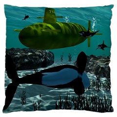 Submarine With Orca Large Flano Cushion Cases (Two Sides)