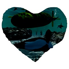Submarine With Orca Large 19  Premium Flano Heart Shape Cushions