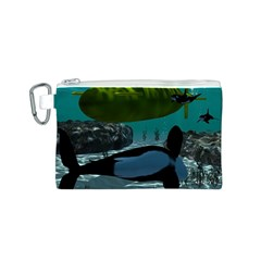 Submarine With Orca Canvas Cosmetic Bag (S)