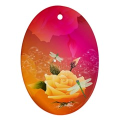 Beautiful Roses With Dragonflies Ornament (Oval)