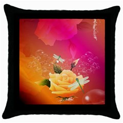 Beautiful Roses With Dragonflies Throw Pillow Cases (Black)